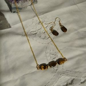 A Tigereye Bar Necklace and Earrings